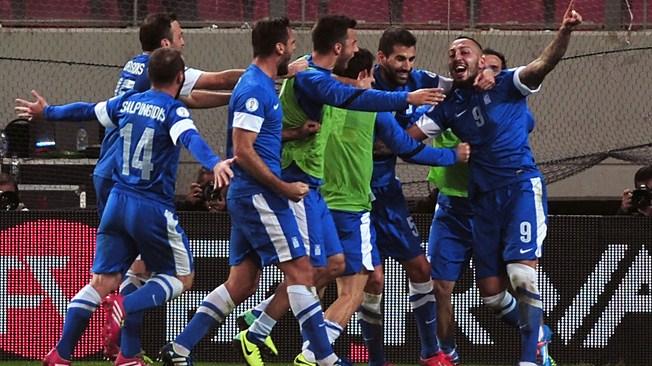 teamfoto voor Griekenland